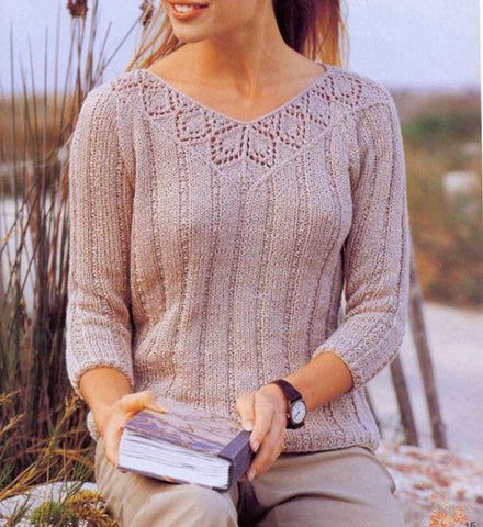 Women's Hand Knit V-neck Sweater 11J