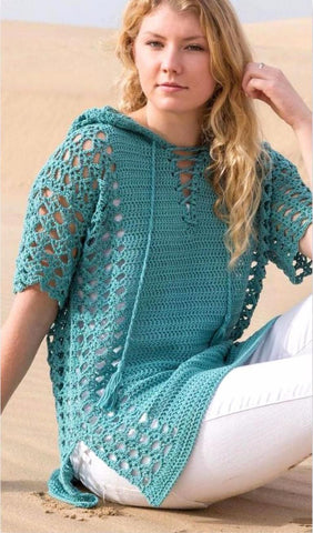 Made-to-order Women Crochet Blouse with Hood, 21S - KnitWearMasters