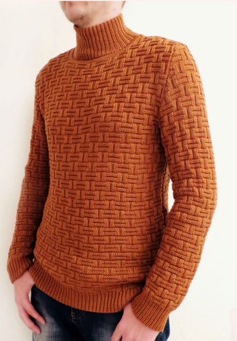Men Hand Knit Turtleneck Sweater 215B