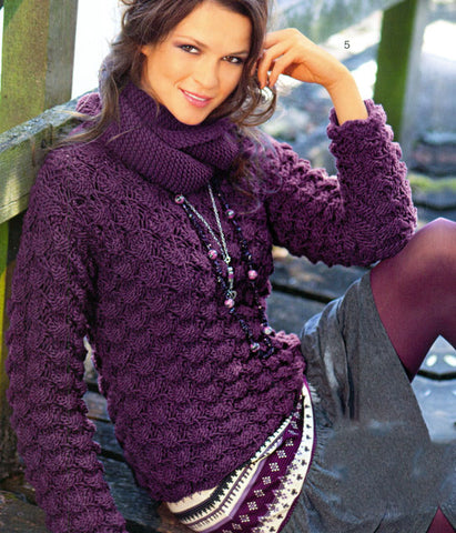 Women's Hand Knit Cowl Neck Sweater 39H - KnitWearMasters