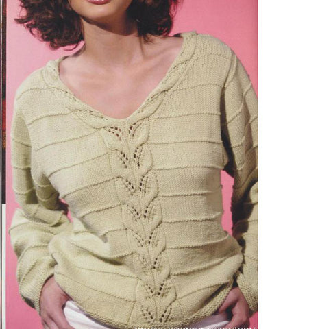 Women's Hand Knit V-neck Sweater 47J - KnitWearMasters