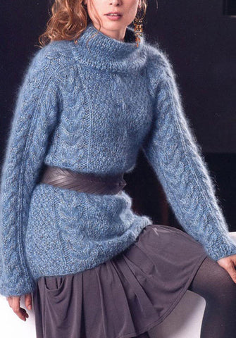 Womens Hand Knit Wool Mohair Turtleneck Sweater 73K