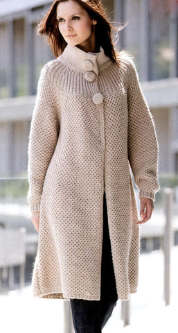Womens Hand Knit Wool Coat.25F - KnitWearMasters