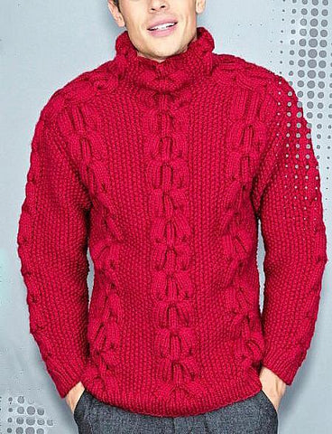 Men's Hand Knit Turtleneck Wool Sweater 231B - KnitWearMasters