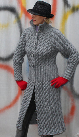 Womens Hand Knit Wool Coat.26F - KnitWearMasters