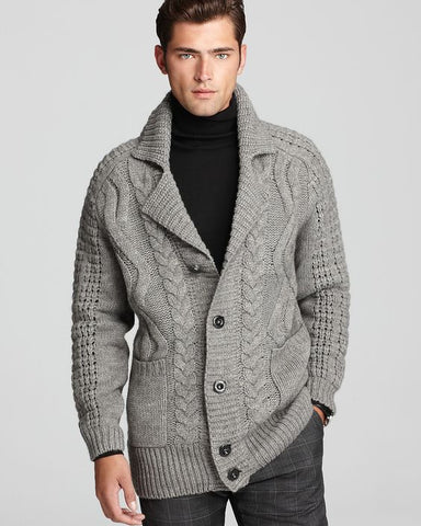 MENS HAND KNIT WOOL CARDIGAN 111A - KnitWearMasters