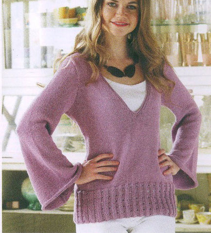 Women's Hand Knit V-neck Sweater 50J - KnitWearMasters