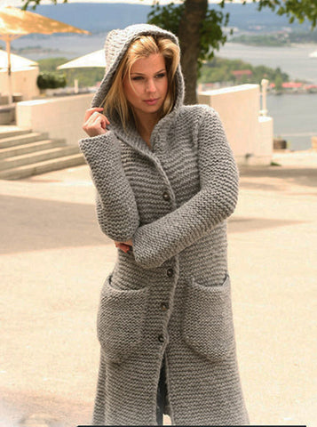 Womens Hand Knit Wool Coat with hood.29F - KnitWearMasters