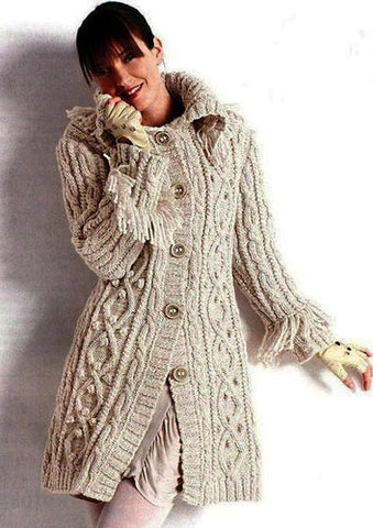 Womens Hand Knit Wool Coat.30F - KnitWearMasters