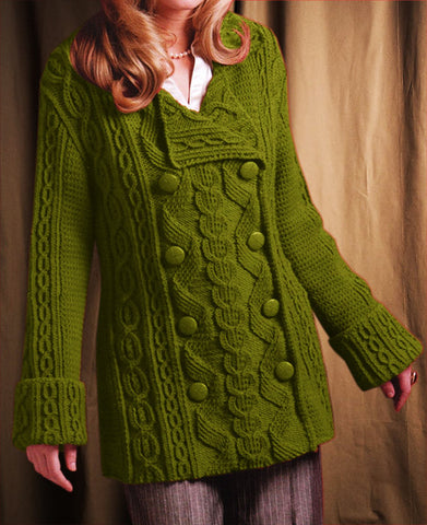 Womens Hand Knit Wool Coat.32F - KnitWearMasters