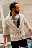 MEN HAND KNITTED DOUBLE BREASTED CARDIGAN 87A