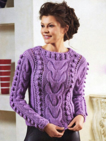 Women's Hand Knitted Crew Neck Sweater 3G