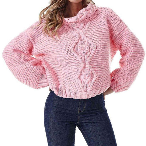 Women Hand Knit Cowl Neck Sweater 80H - KnitWearMasters