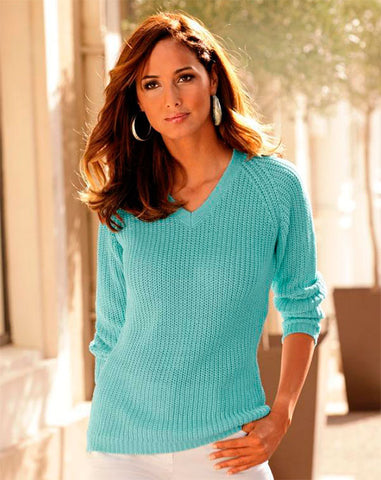 Women's Hand Knit V-neck Sweater 28J