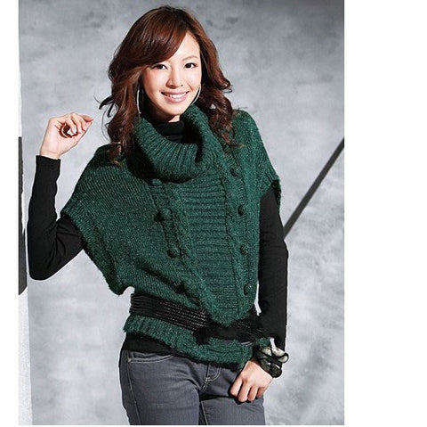 Women's Hand Knit Cowl Neck Sweater 49H - KnitWearMasters