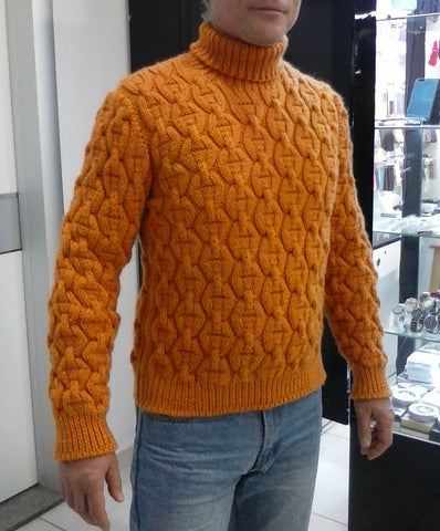 Men's Hand Knit Turtleneck Sweater 304B - KnitWearMasters