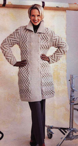 Womens Hand Knit Wool Coat.31F - KnitWearMasters