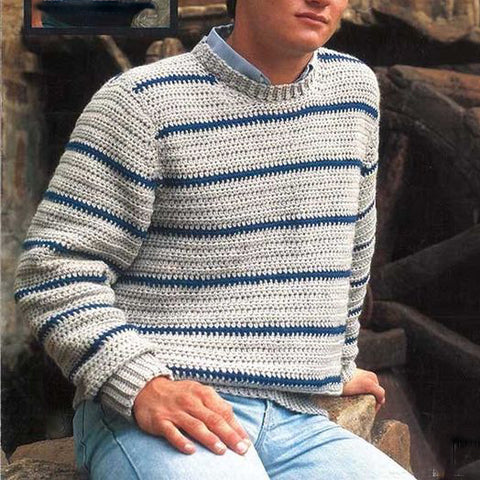 Men's Hand Knit Crew Neck Sweater 297B - KnitWearMasters