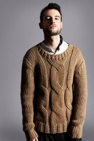 Men's Hand Knit Crew Neck Sweater 298B - KnitWearMasters