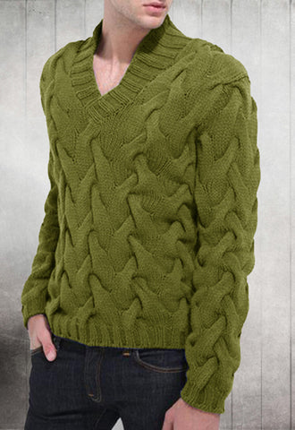 Men's Hand Knitted V-Neck Sweater 3B - KnitWearMasters