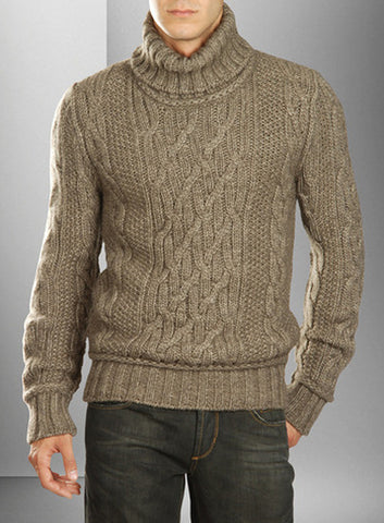 Men's Hand Knitted Turtleneck Wool Sweater 1B - KnitWearMasters