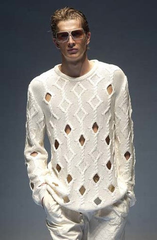 Men's Hand Knitted Crewneck Sweater 2B