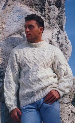 Men's Hand Knitted Wool Turtleneck Sweater 5B