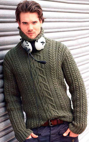 Men's Hand Knitted Turtleneck Sweater 6B