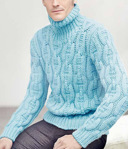 Men's Hand Knitted Turtleneck Wool Sweater 7B - KnitWearMasters