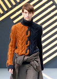 Men's Hand Knitted Cabled Turtleneck Sweater 9B - KnitWearMasters