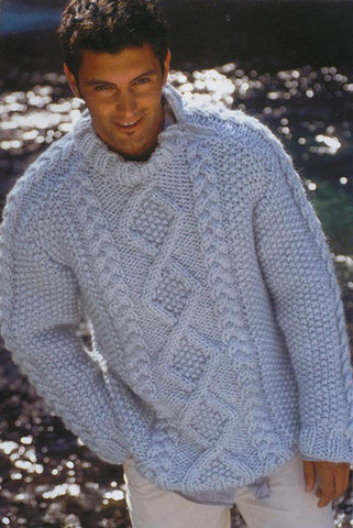 Men's Hand Knitted Thick Mohair Sweater 10B