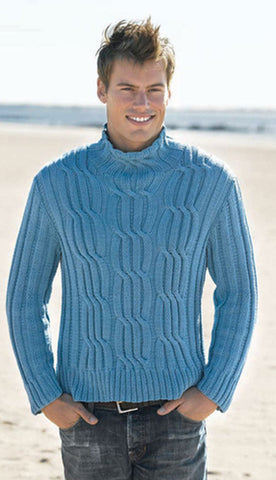 Men's Hand Knitted Turtleneck Wool Sweater 16B - KnitWearMasters