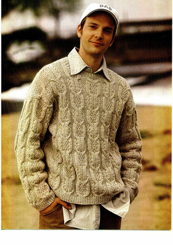 Men's Hand Knitted Crewneck Wool Sweater 8B