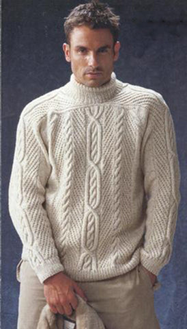 Men's Hand Knitted Turtleneck Wool Sweater 12B - KnitWearMasters
