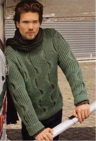 Men's Hand Knitted Turtleneck Wool Sweater 13B