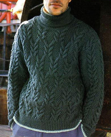 Men's Hand Knitted Turtleneck Wool Sweater 15B