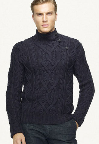 Men's Hand Knitted Turtleneck Sweater 22B - KnitWearMasters