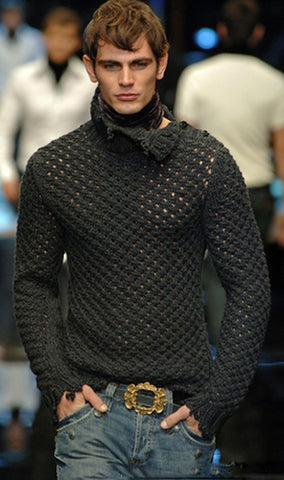 Men's Hand Knitted Turtleneck Sweater 23B - KnitWearMasters