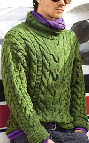 Men's Hand Knitted Wool Turtleneck Sweater 20B - KnitWearMasters