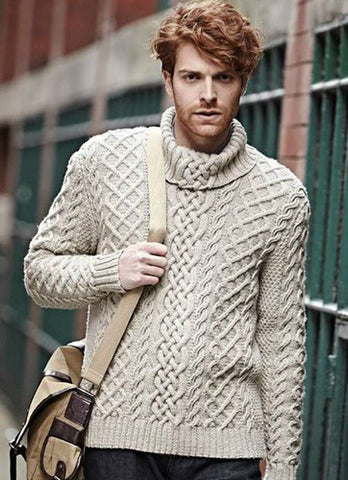 Men's Hand Knitted Cabled Turtleneck Sweater 29B - KnitWearMasters