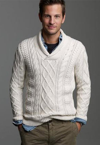 Men's Hand Knitted Shawl Collar Sweater 34B - KnitWearMasters