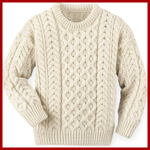 Men's Hand Knitted Aran Crewneck Sweater 35B