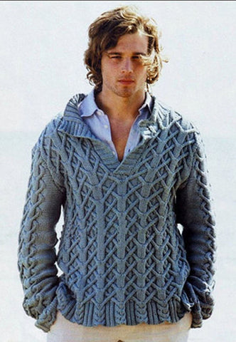 Men's Hand Knitted Polo Sweater 40B