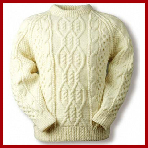 Men's Hand Knitted Aran Crewneck Sweater 41B - KnitWearMasters