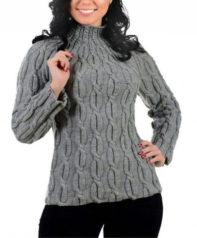 Women's Hand Knitted Turtleneck Wool Sweater 3K