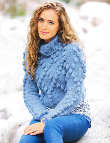 Women's Hand Knitted Turtleneck Wool Sweater 4K