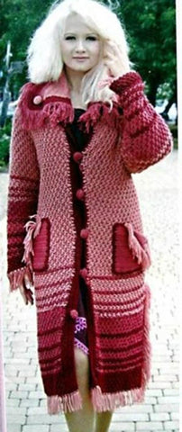 Women's Hand Knitted Thick Wool Coat  12F - KnitWearMasters