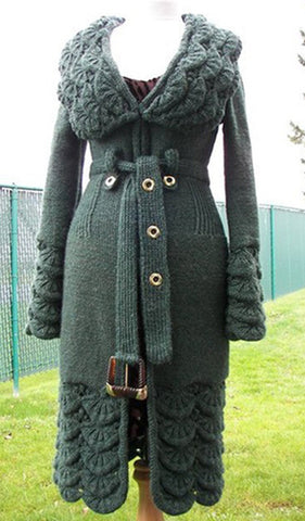 Women's Hand Knitted Wool Coat  11F