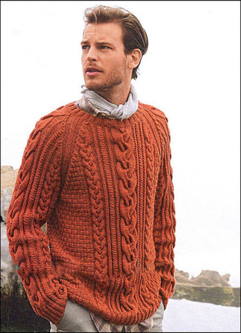 Men's Hand Knitted Cabled Crewneck Sweater 43B