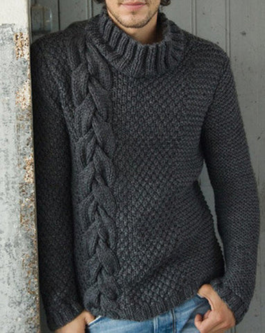 Men's Hand Knitted Wool Turtleneck Sweater 45B - KnitWearMasters